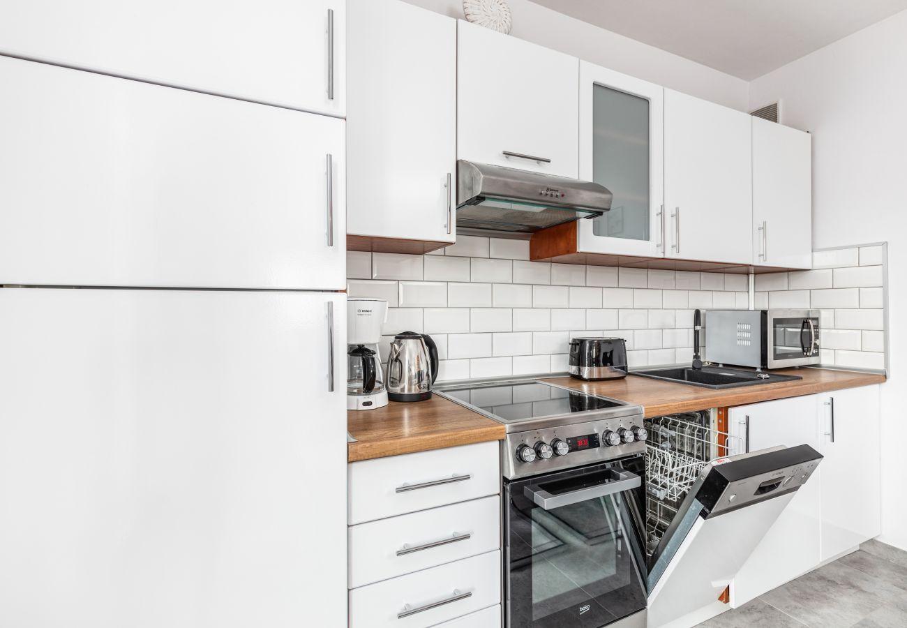 Küche, Küchenschränke, Kühlschrank, Herd, Backofen, Geschirrspüler, Mikrowelle, Dunstabzugshaube, Toaster