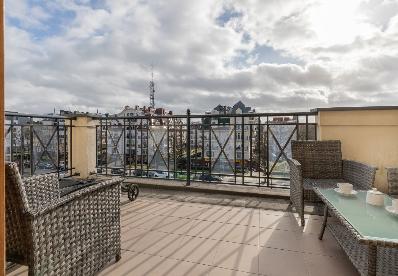 Ferienwohnung, Miete, Apartment, Terrasse, Aussicht, Gartenmöbel, Kaffee, Promenade, Baltic Park, Swinemunde