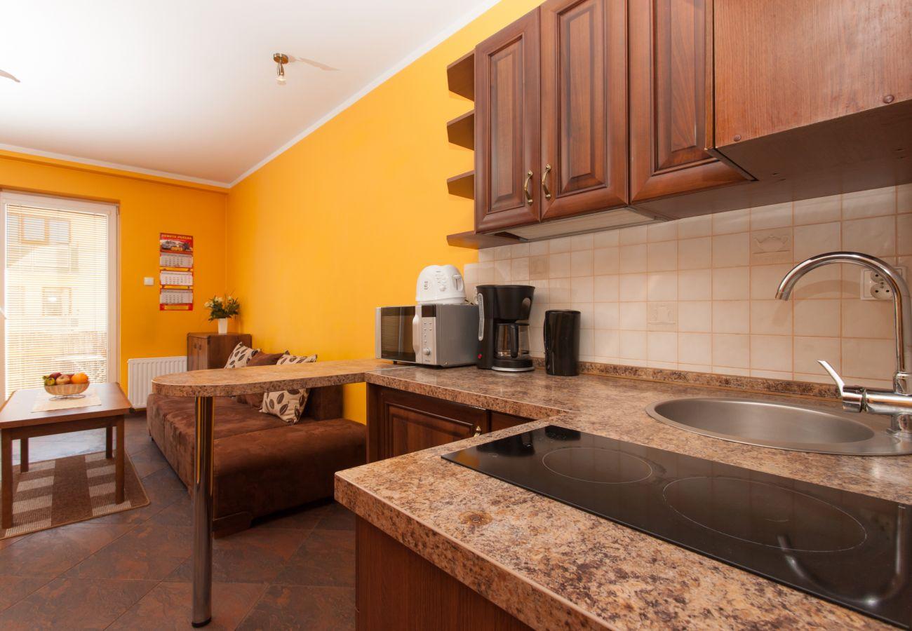 Kochnische, Wasserkocher, Mikrofelle, Toaster, Spüle, Geschirr, Miete