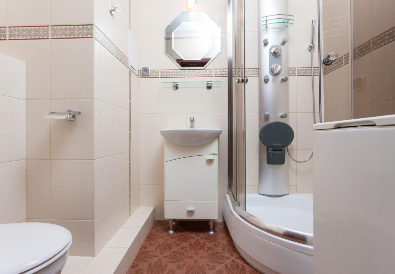 Waschbecken, Dusche, Handtücher, WC, Miete