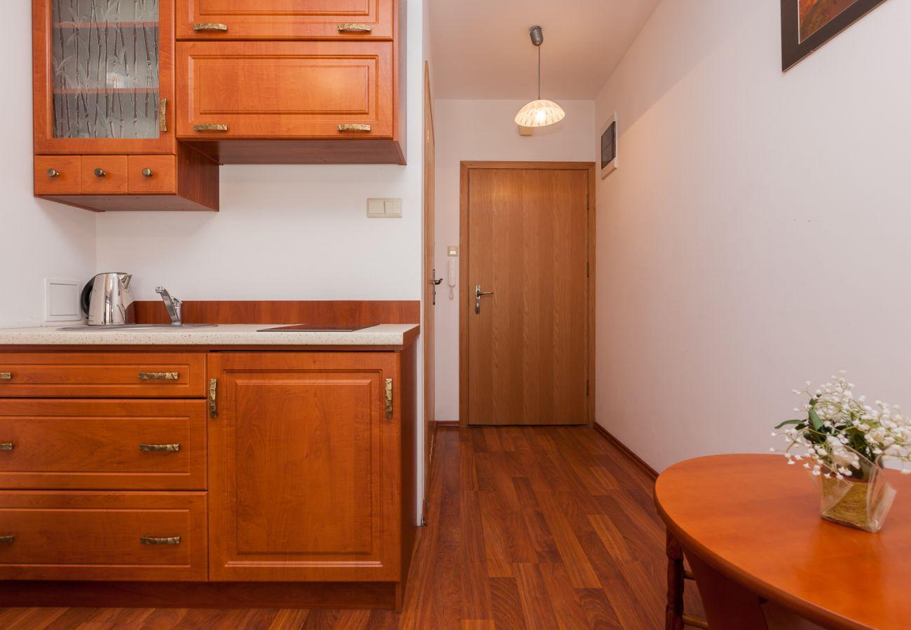 Wohnzimmer, Küche, Küchenzeile, Wasserkocher, Herd, Spüle, Schränke, Miete