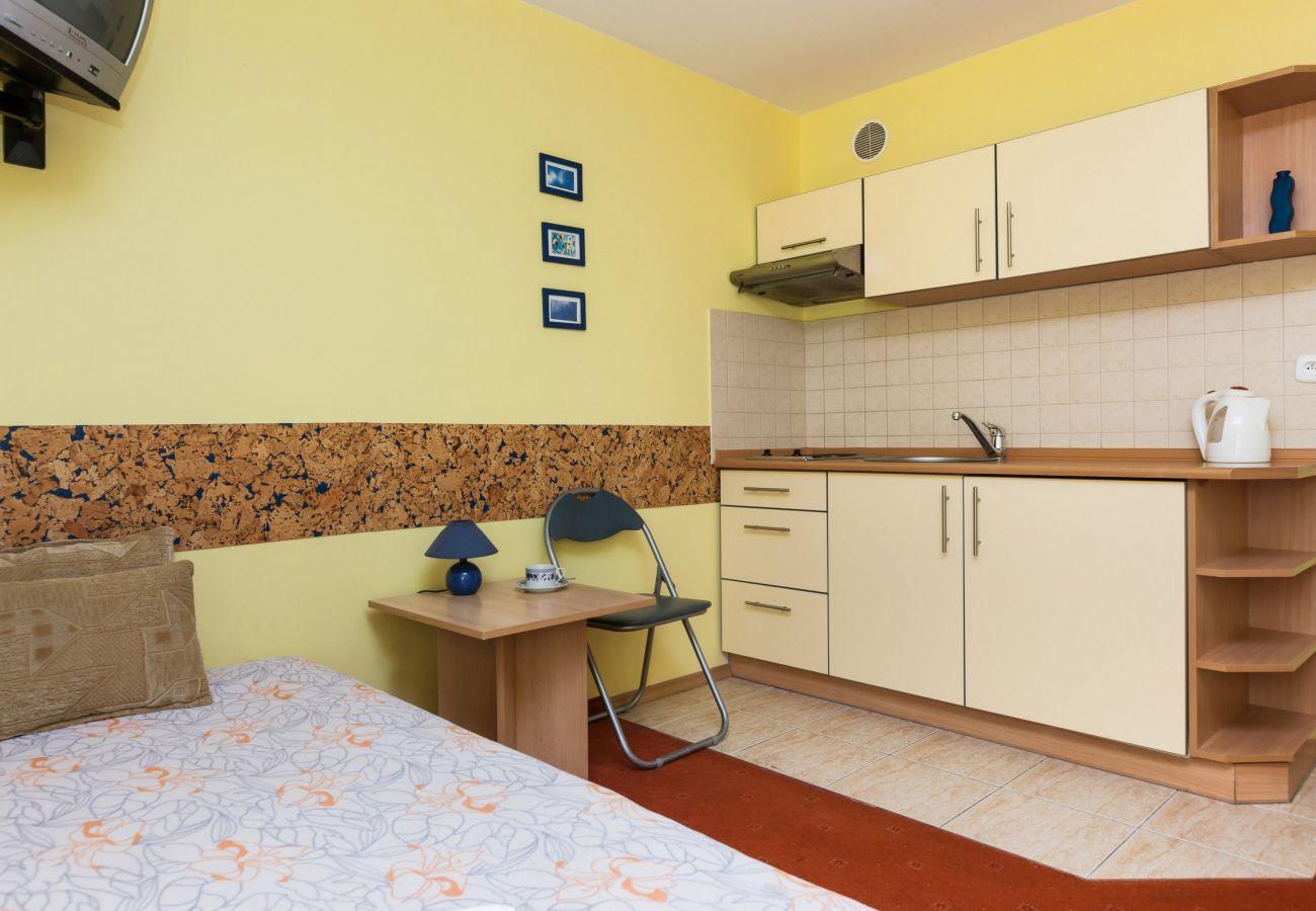Wohnzimmer, Kochnische, Spüle, Wasserkocher, Herd, Sofa, Einzelbett, Miete