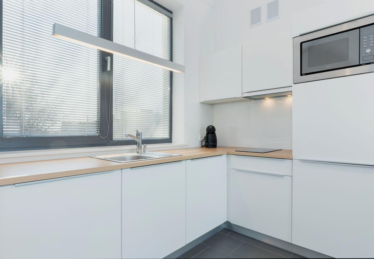 kitchen, kitchenette, microwave, stove, sink, coffee machine, cupboards, rent