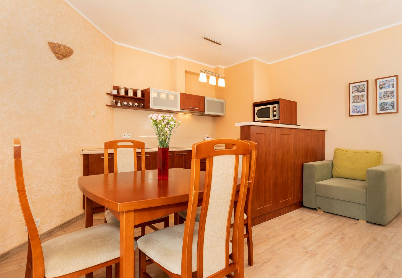 kitchen, kitchenette, dining area, dining table, chairs, stove, microwave, kettle, sink, rent