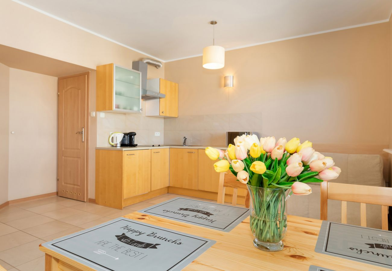 kitchen, kitchenette, stove, dishwasher, microwave, coffee machine, kettle, sink, cupboards, dining area, dining table, chairs, rent