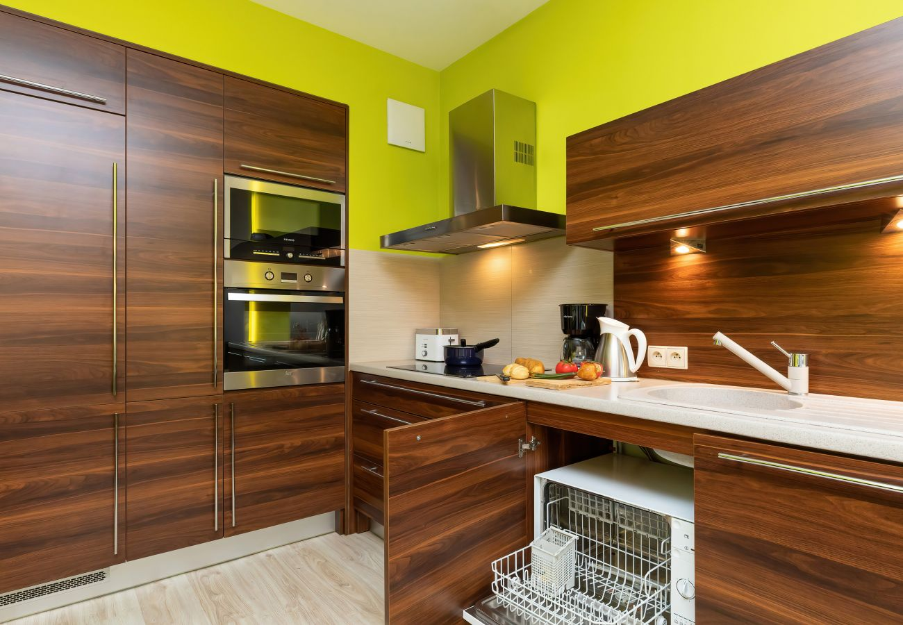 kitchen, kitchenette, dishwasher, microwave, oven, induction hob, kettle, coffee maker, toaster, fridge freezer, cupboards, apartment, interior, rent