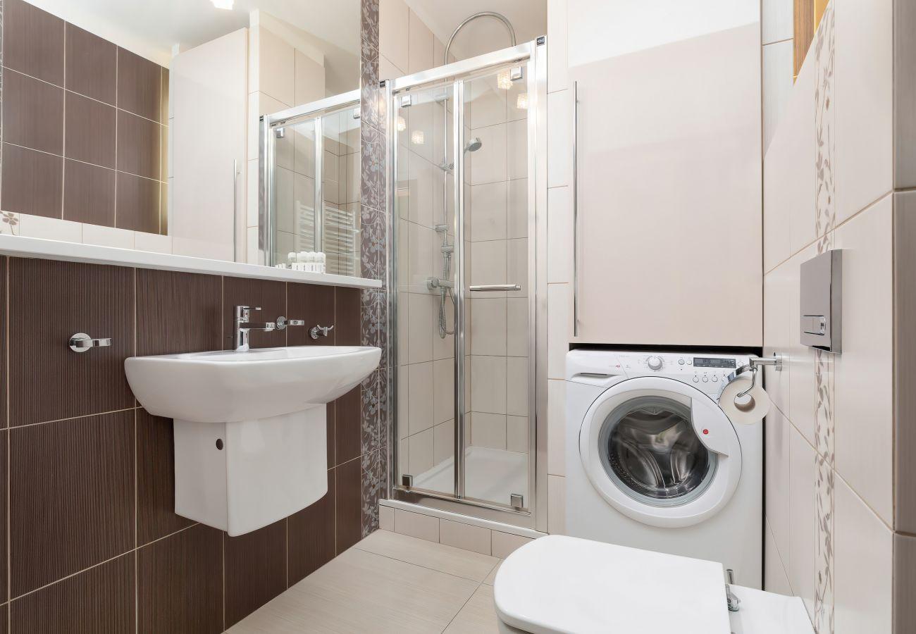 bathroom, shower, sink, toilet, mirror, washing machine, towels, apartment, interior, rent