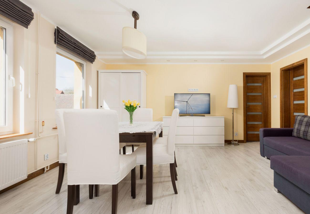 stół, krzesła, sofa, okno, drzwi, widok, tv, lampa