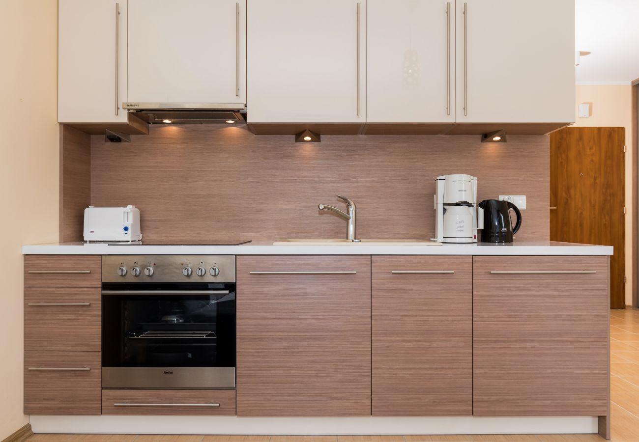 kuchnia, szafki kuchenne, przybory kuchenne, piekarnik, płyta kuchenna, toster, zlewozmywak, czajnik, ekspres do kawy