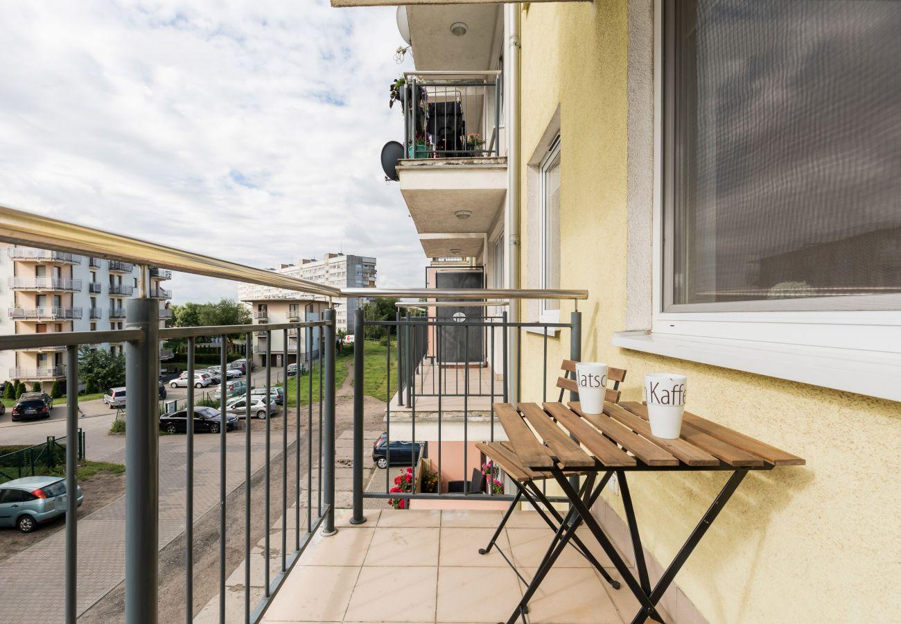 balkon, widok, stolik, Śwonujście, wakacje