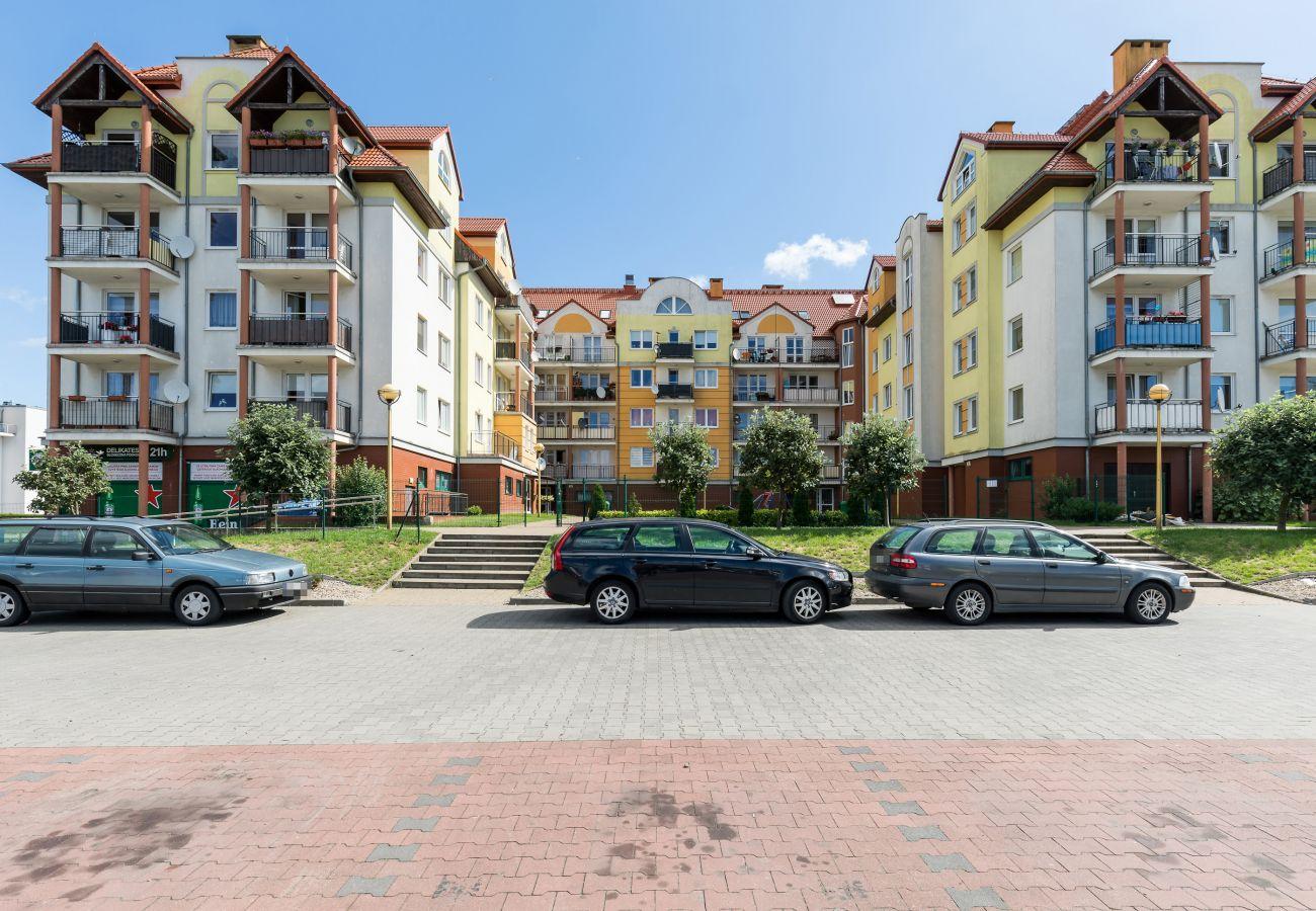 budynek, zewnątrz, widok, ulica, dziedziniec, parking