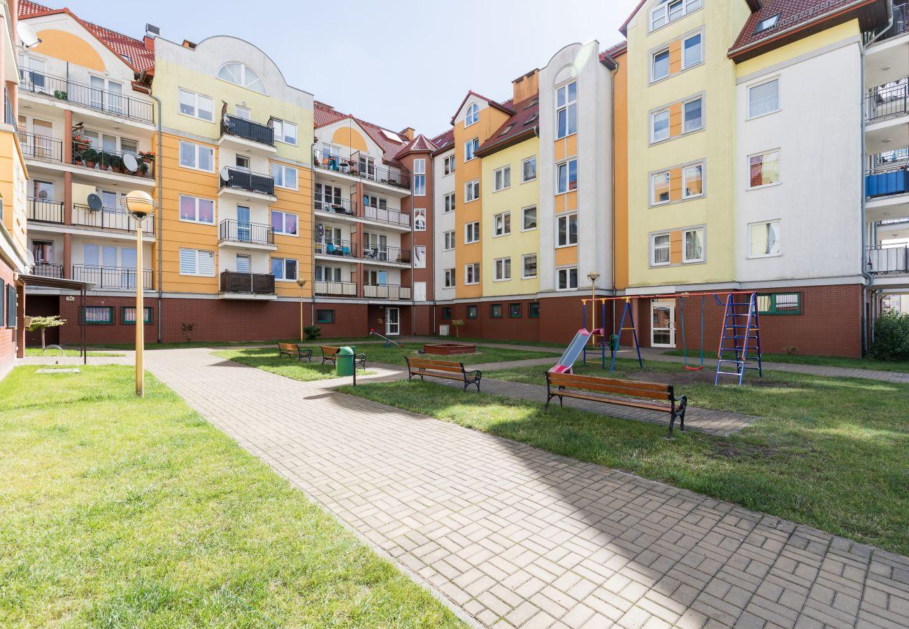 budynek, park, zewnątrz, ławka, widok