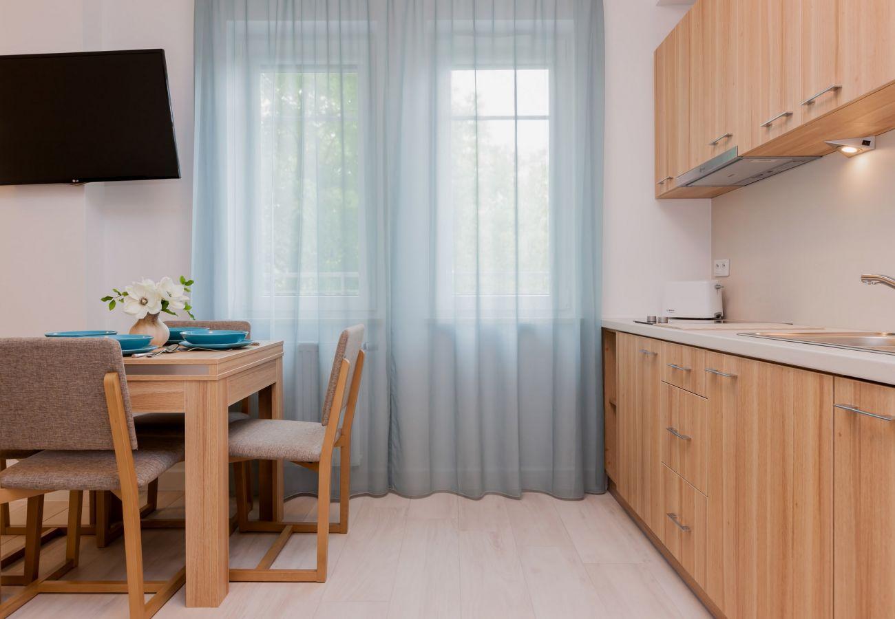 pokój, stół, krzesło, okno, TV, aneks kuchenny