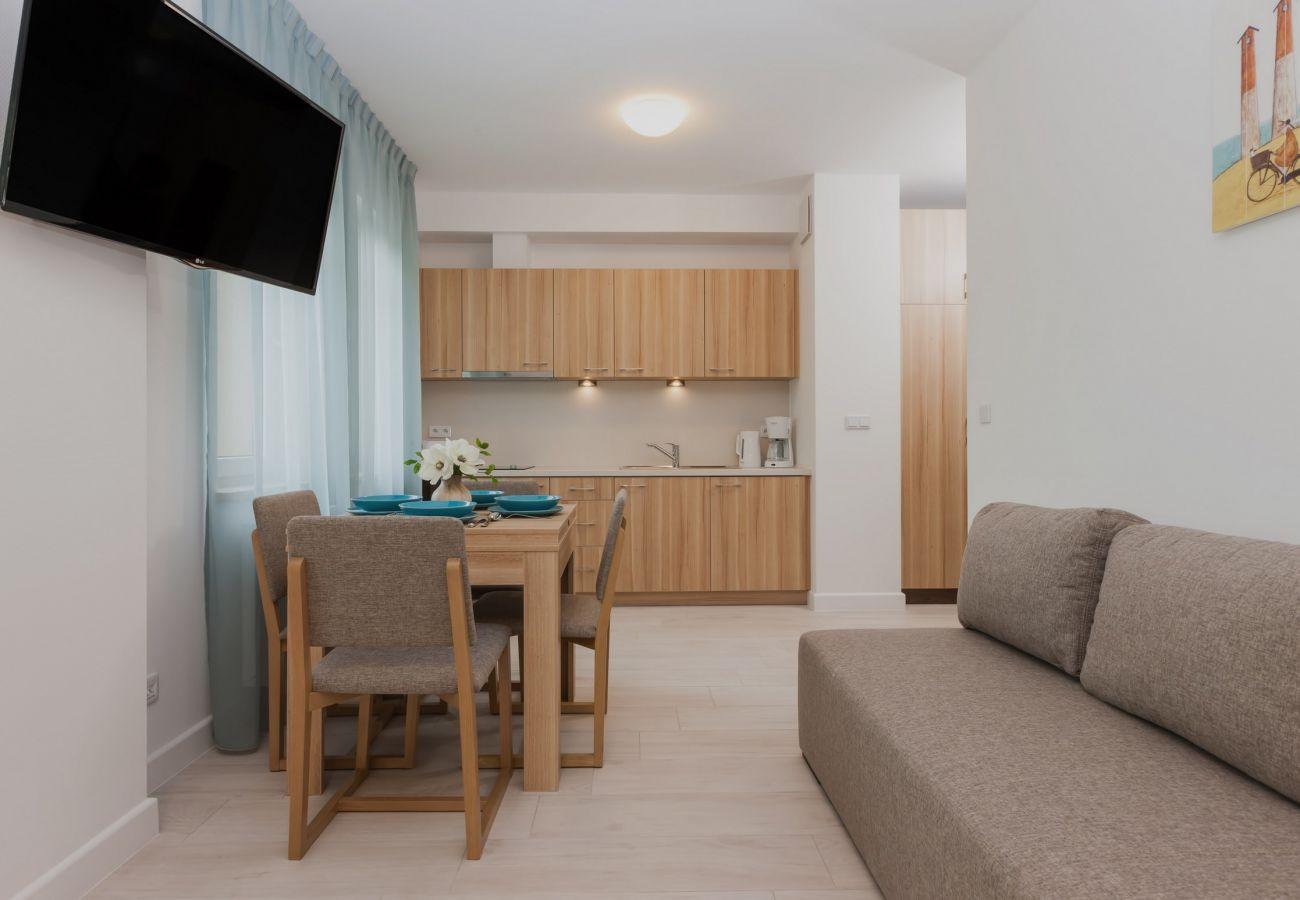 pokój, stół, krzesło, okno, TV, aneks kuchenny, sofa