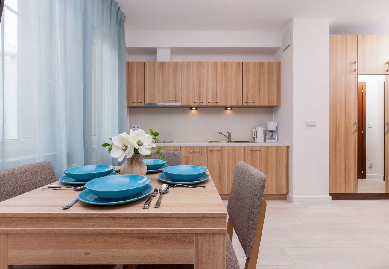 pokój, stół, krzesło, okno, szafa, aneks kuchenny