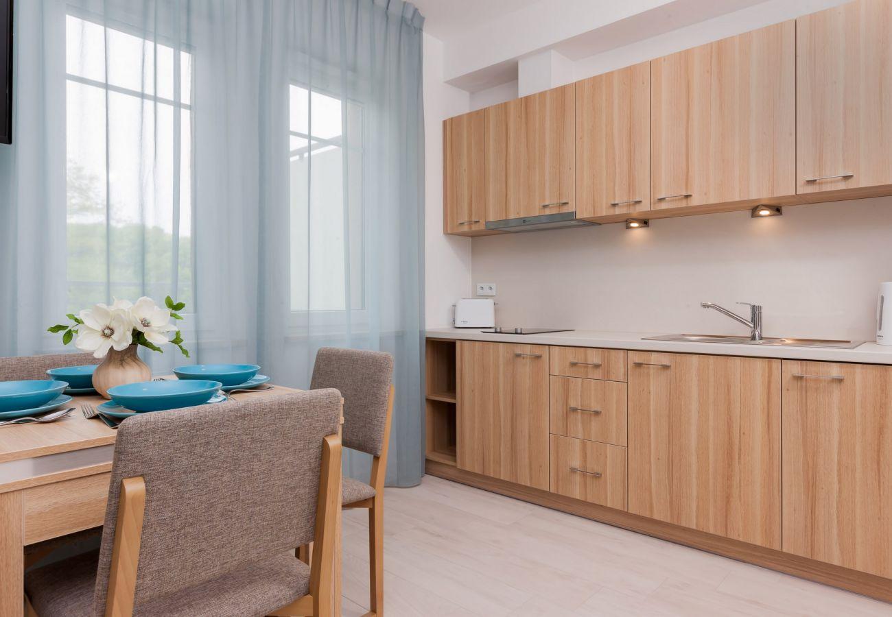 aneks kuchenny, stół, krzesło, okno, szafki kuchenne