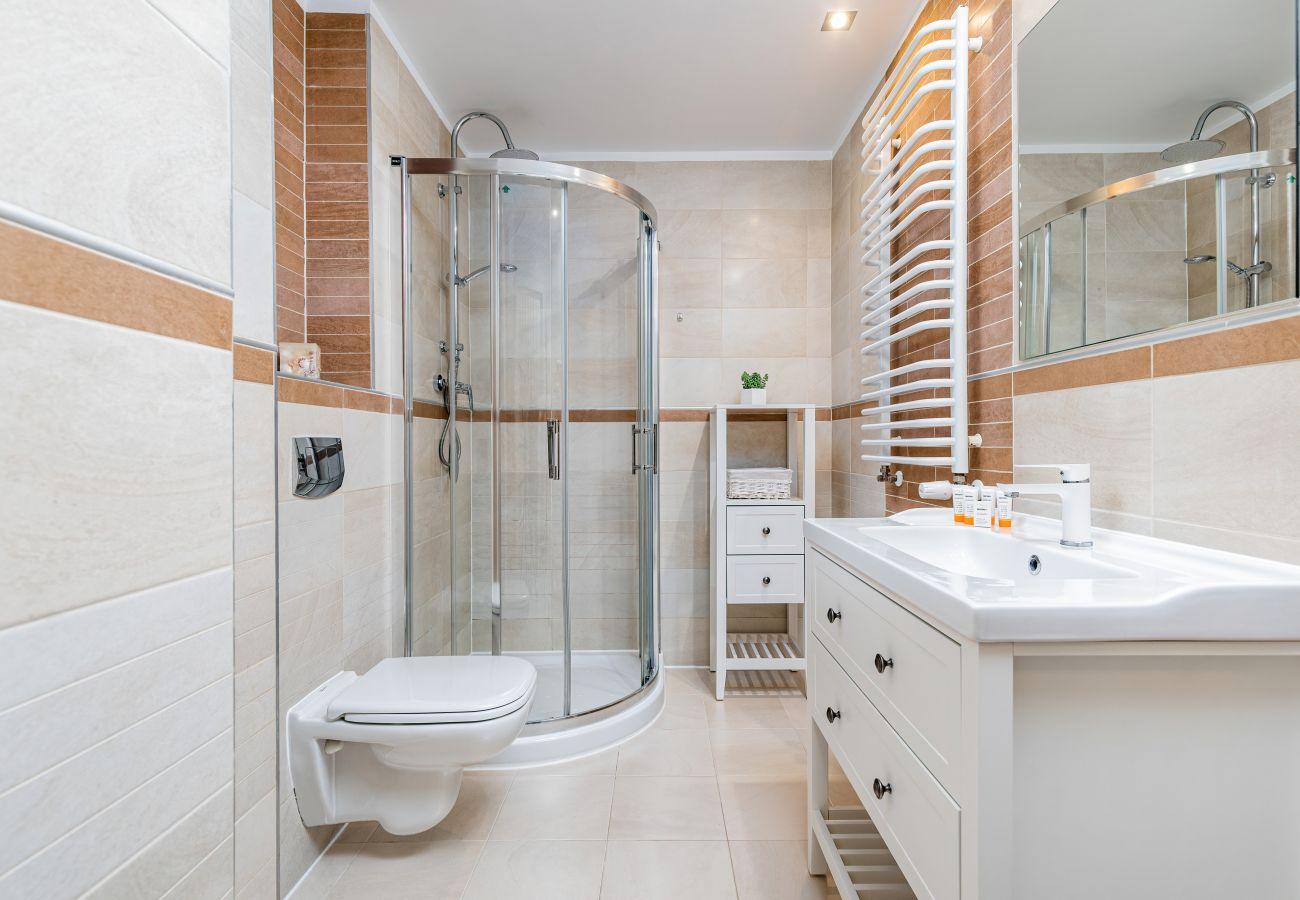 łazienka, prysznic, WC, ręcznik, lustro, najem