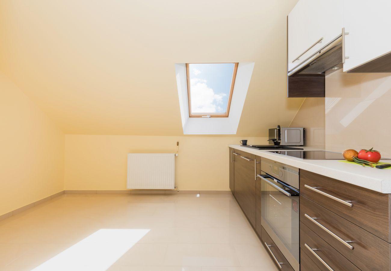 kuchnia, okno, piekarnik, szafki