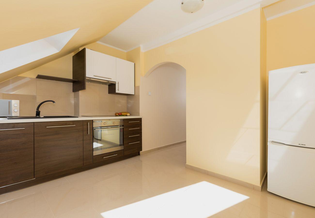 kuchnia, szafki, piekarnik, płyta kuchenna, zlewozmywak, mikrofala, narzędzia kuchenne, okno, lodówka