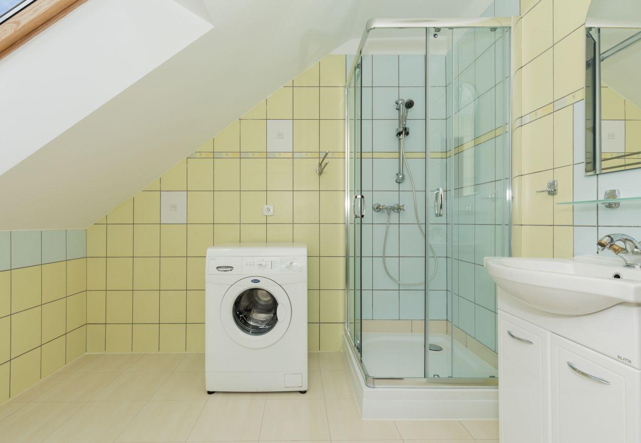 łazienka, lustro, pralka, okno, prysznic, umywalka