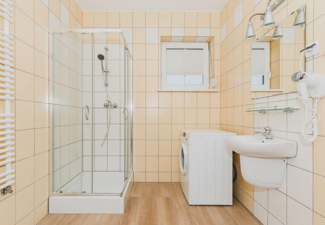 łazienka, prysznic, lustro, suszarka do włosów, umywalka, wynajem