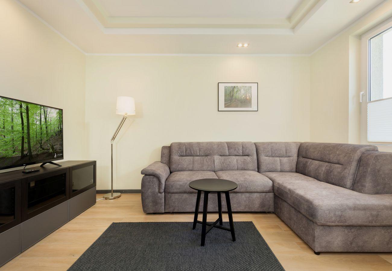 pokój, sofa, okno, wynajem, TV