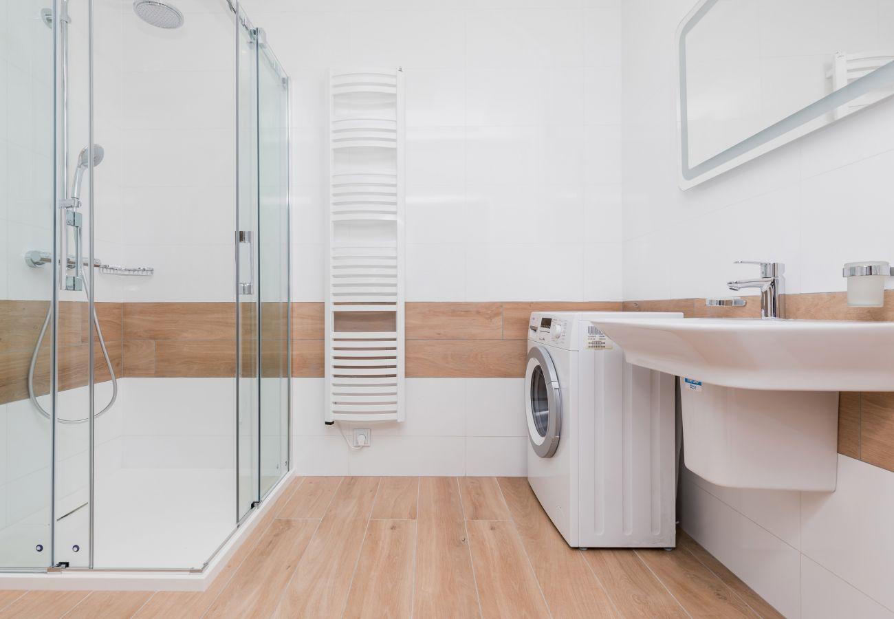 prysznic, pralka, umywalka, lustro, wynajem