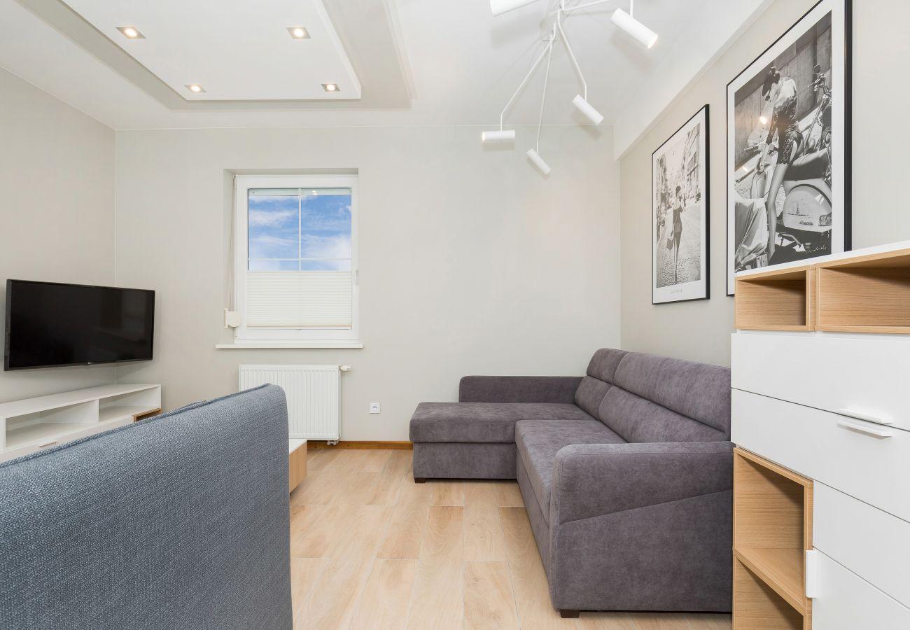salon, sofa, tv, okno, obrazy, stolik do kawy, wynajem