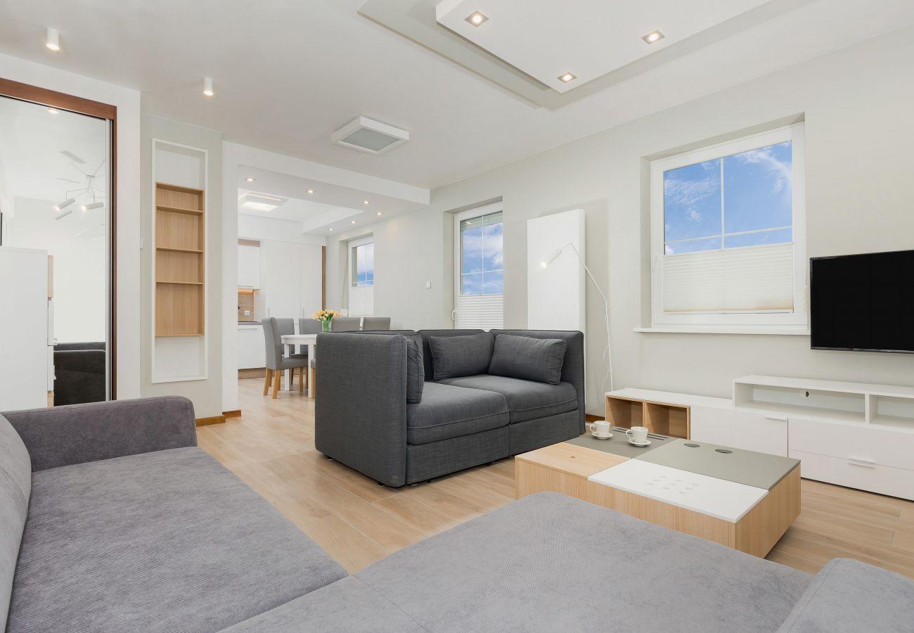 sofa, tv, stolik do kawy, lustro, okno, stół, krzesła, wynajem