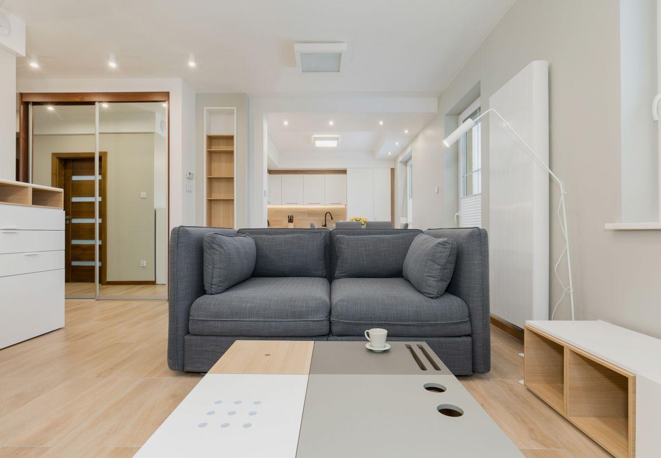 lustro, sofa, szafa, stolik do kawy, okno, stół, krzesła, wynajem