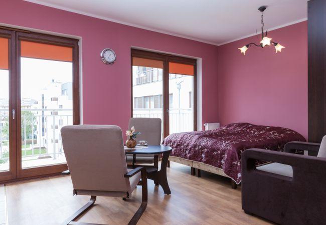 pokój dzienny, łóżko podwójne, sypialnia, jadalnia, stół jadalny, krzesło, fotel, szafa, okno, wynajem