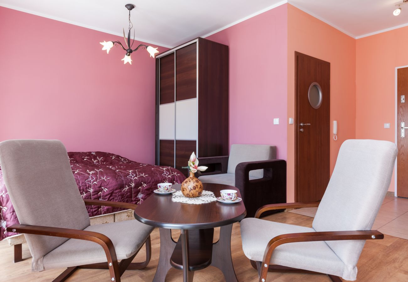 salon, jadalnia, stół jadalny, krzesła, fotel, szafa, łóżko podwójne, wynajem