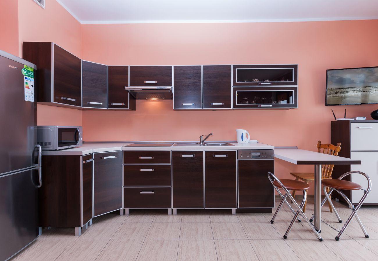 Küchenzeile, Herd, Wasserkocher, Mikrowelle, Schränke, Spüle, Miete