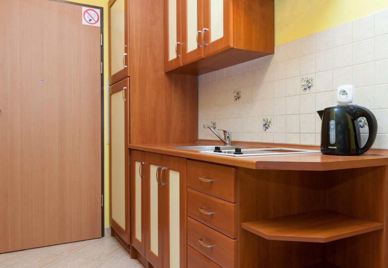 aneks kuchenny, kuchnia, czajnik, kuchenka, umywalka, szafki, wynajem