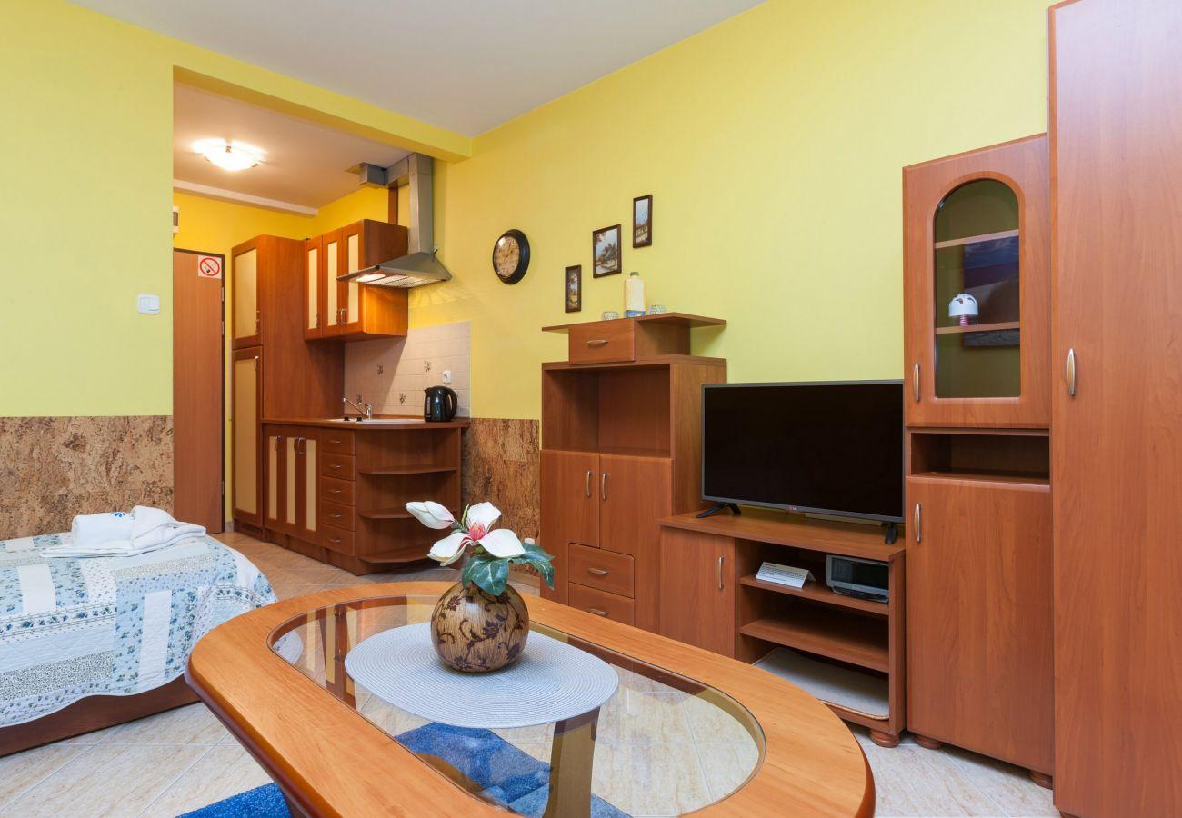 pokój dzienny, sypialnia, pojedyncze łóżka, telewizor, stolik kawowy, sofa, szafa, pościel, poduszki, wynajem