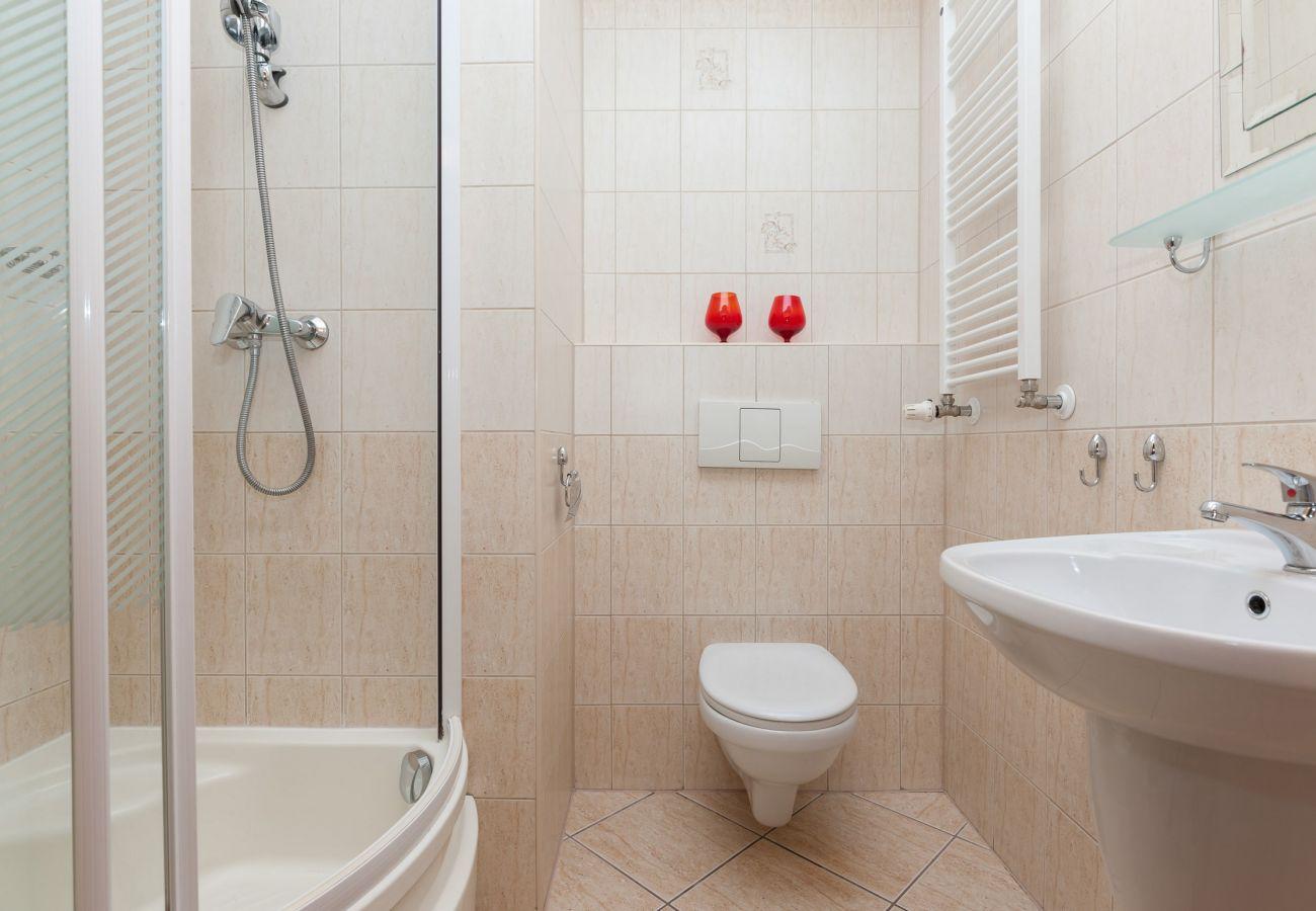 łazienka, prysznic, umywalka, toaleta, lustro, wynajem