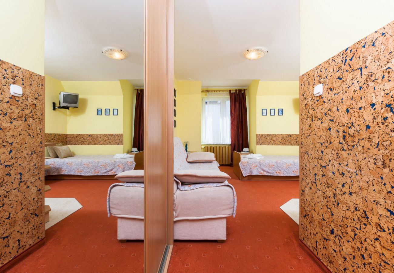 pokój dzienny, telewizor, łóżko pojedyncze, sofa, szafka nocna, lampka nocna