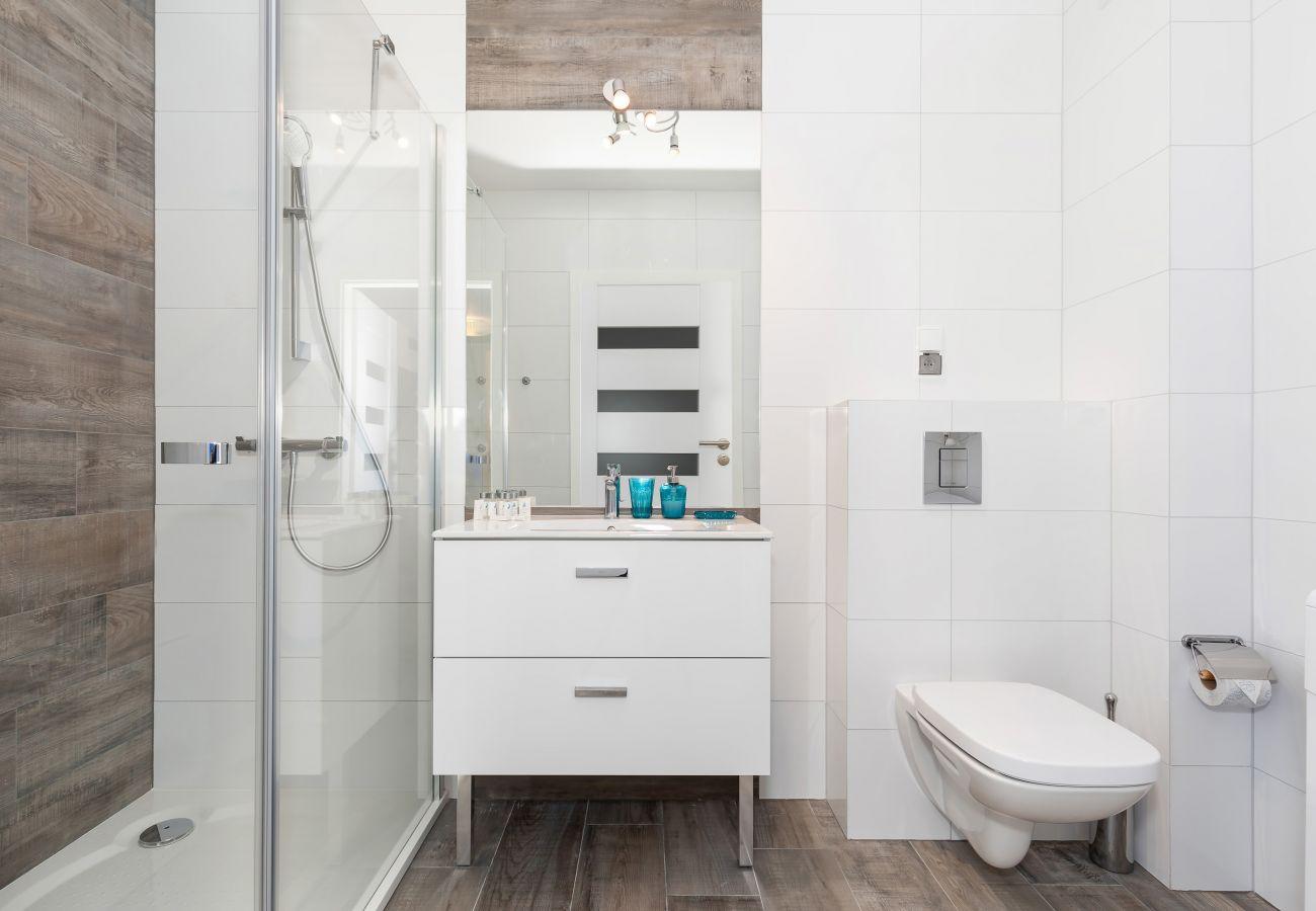łazienka, prysznic, umywalka, toaleta, lustro, pralka, wynajem