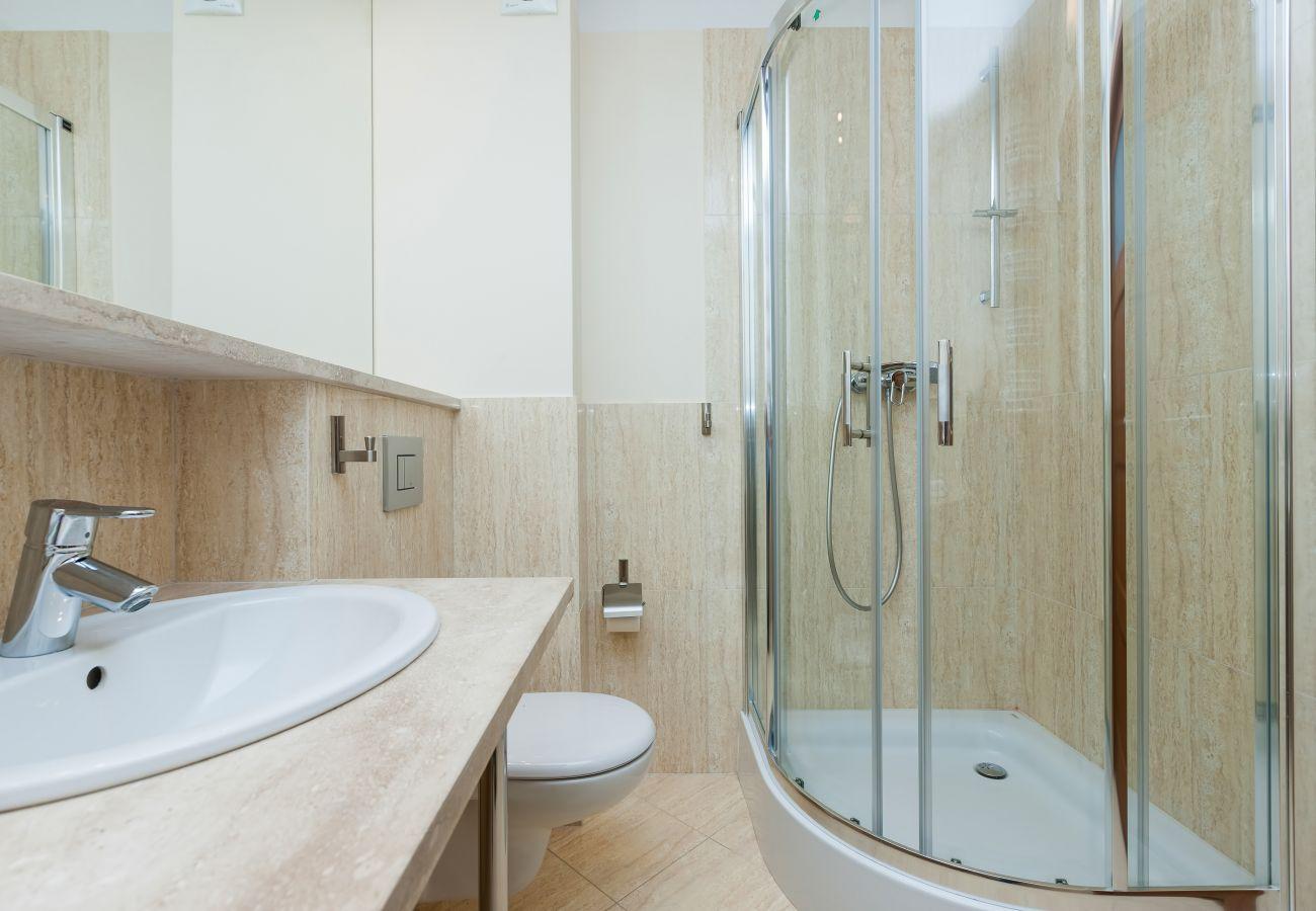 łazienka, prysznic, umywalka, lustro, toaleta, wynajem