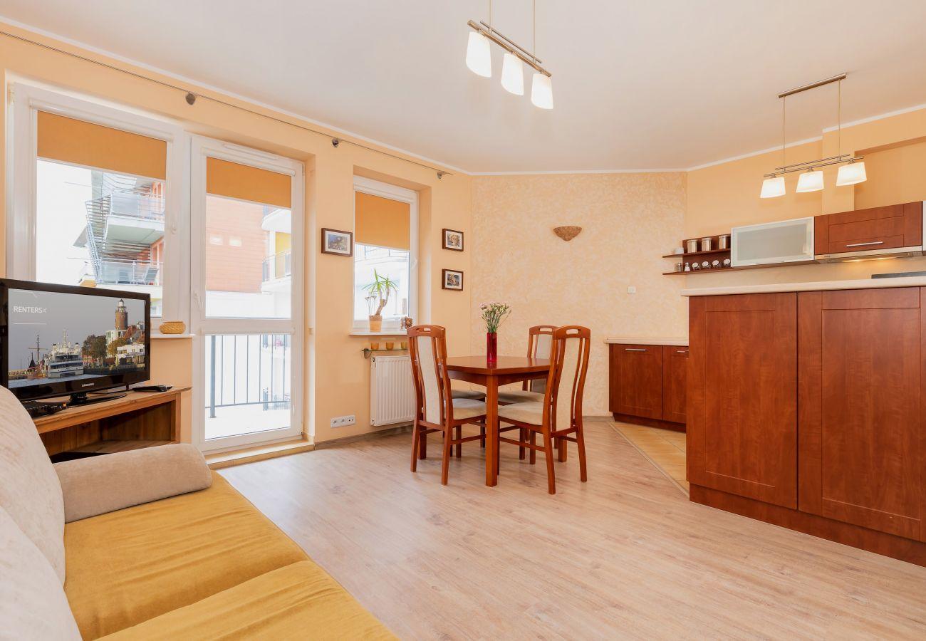 salon, sofa, telewizor, jadalnia, stół, krzesła, wynajem