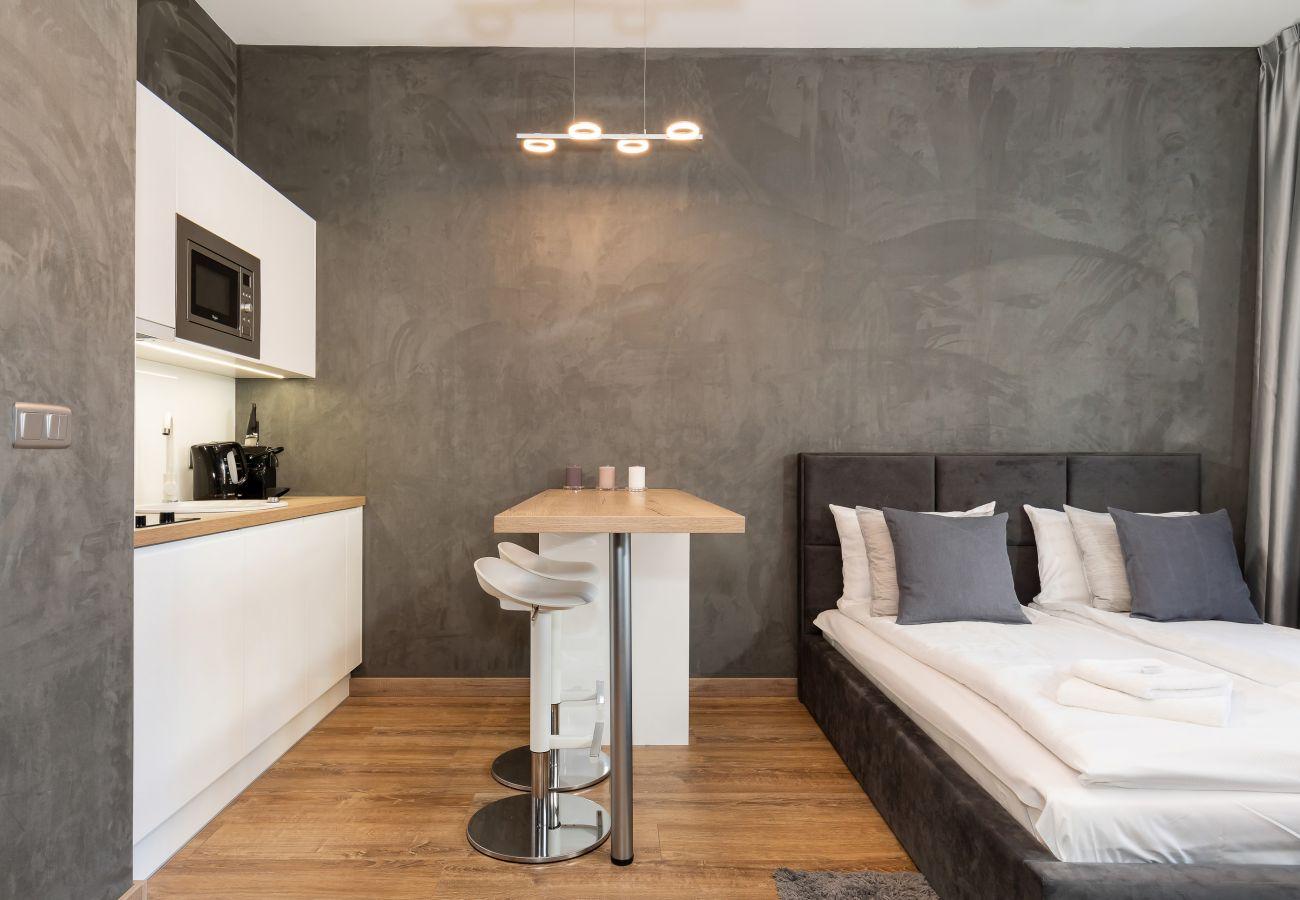 salon, podwójne łóżko, fotel, aneks kuchenny, jadalnia, stół, krzesła, telewizor, wnętrze mieszkania, apartament, wynajem