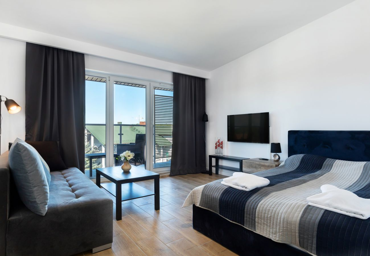 salon, jadalnia, aneks kuchenny, sofa, stolik kawowy, telewizor, łóżko podwójne, pościel, poduszki, mieszkanie, wnętrze, wynajem