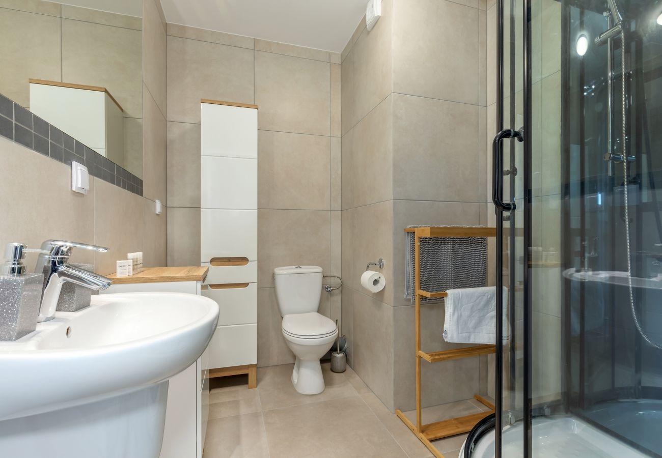 łazienka, prysznic, umywalka, toaleta, lustro, szafka łazienkowa, mieszkanie, wnętrze, wynajem