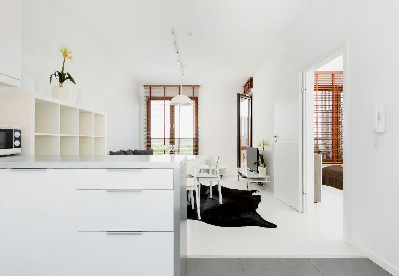 salon, jadalnia, aneks kuchenny, sofa, stolik, telewizor, apartament, wnętrze, wynajem