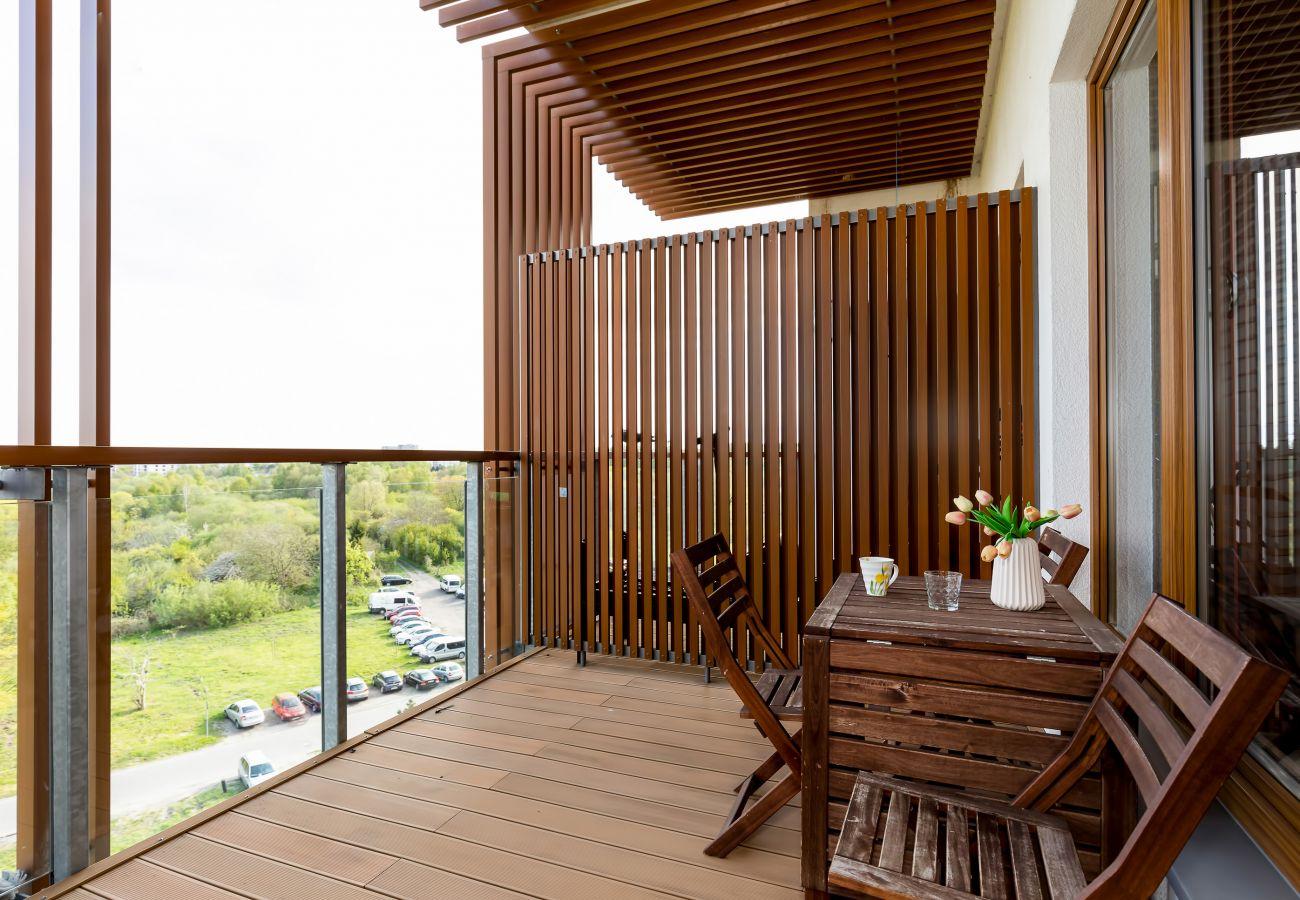 balkon, krzesła, stół, widok, widok z balkonu, na zewnątrz, mieszkanie, wynajem