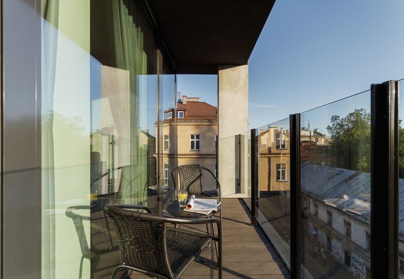 balkon, krzesła, stół, na zewnątrz, apartament, widok, widok z balkonu, widok z mieszkania, wynajem