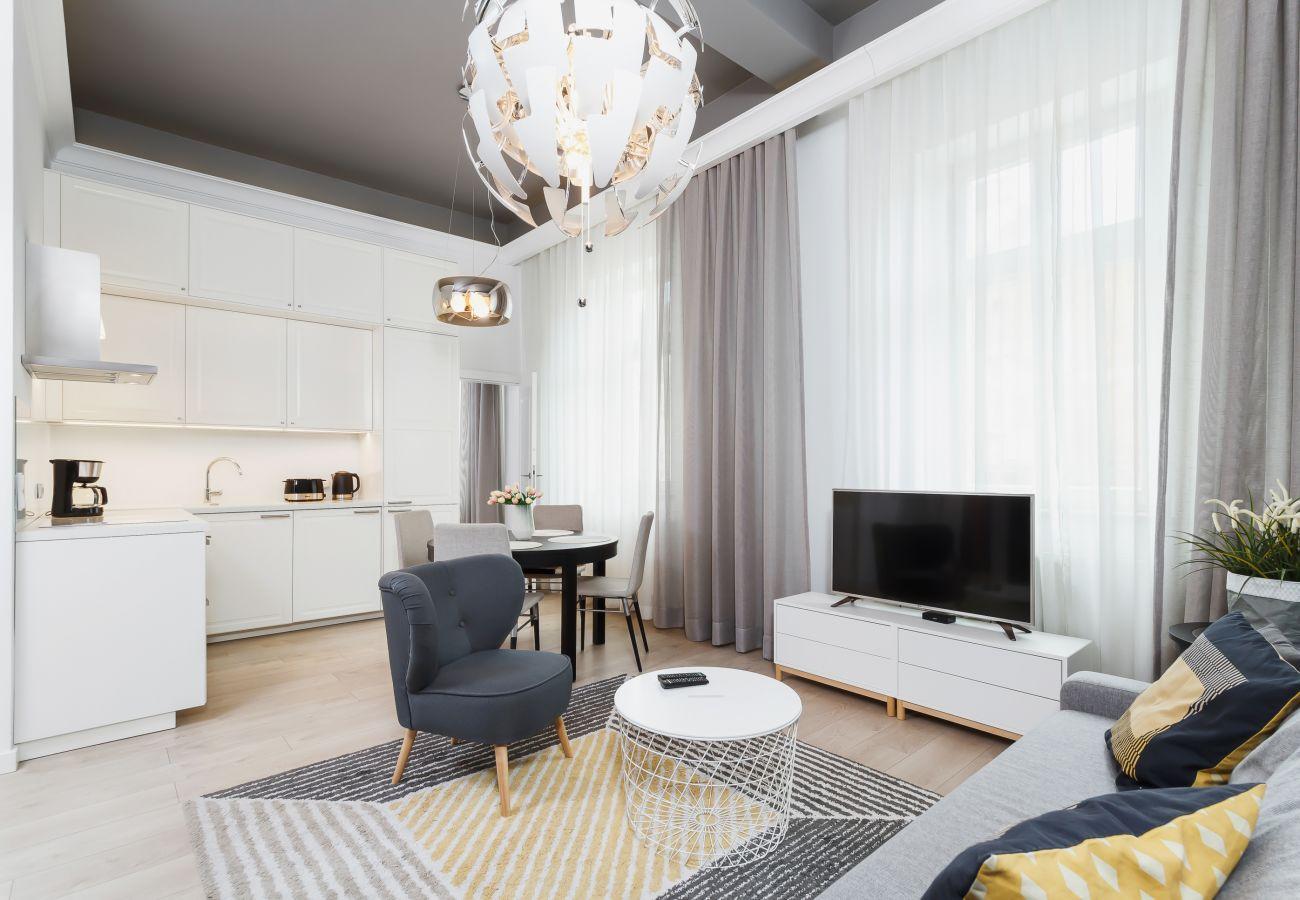 apartament, salon, sofa, TV, fotel, aneks kuchenny, wynajem