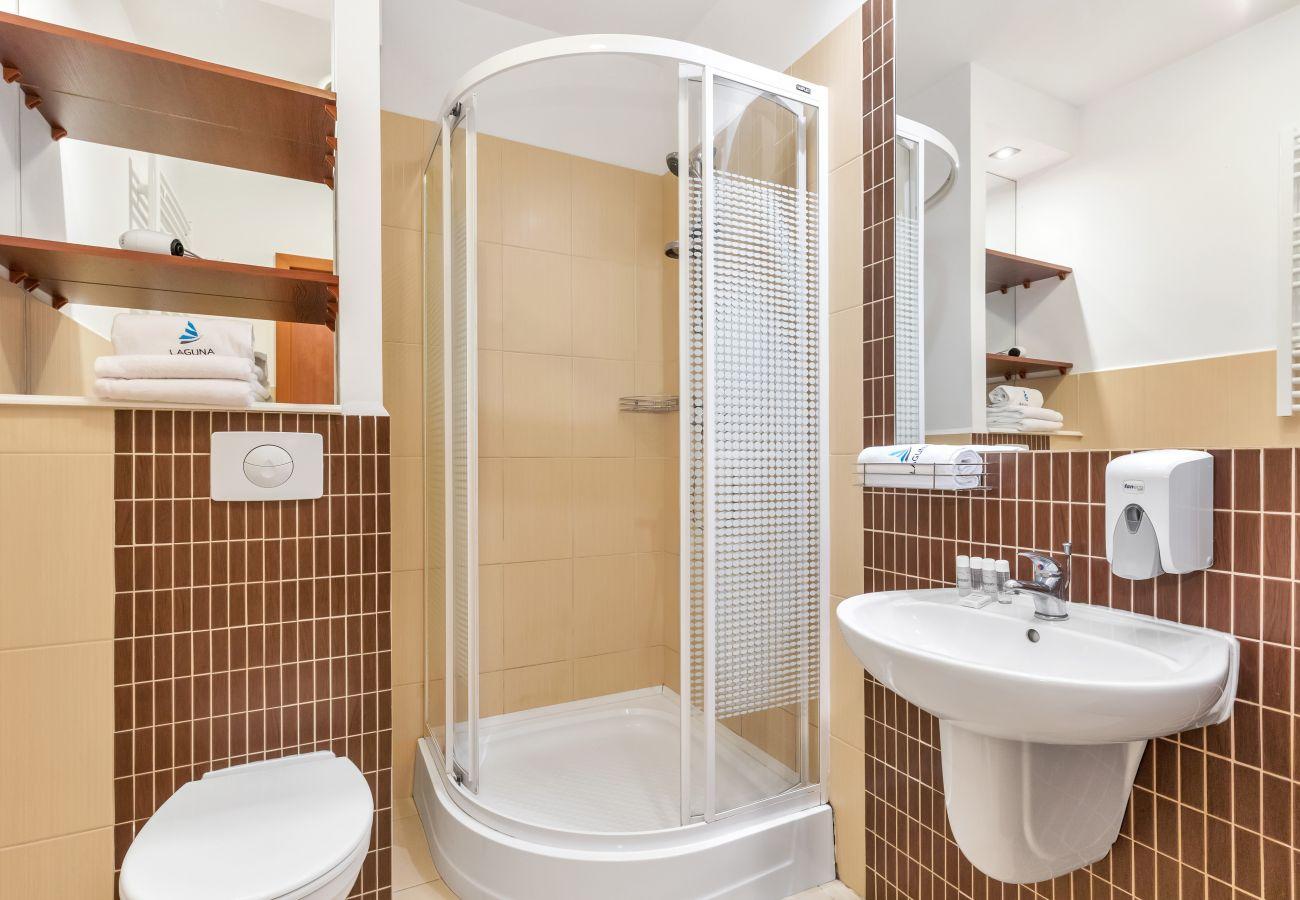 łazienka, prysznic, umywalka, toaleta, lustro, ręczniki, studio, wnętrze, wynajem