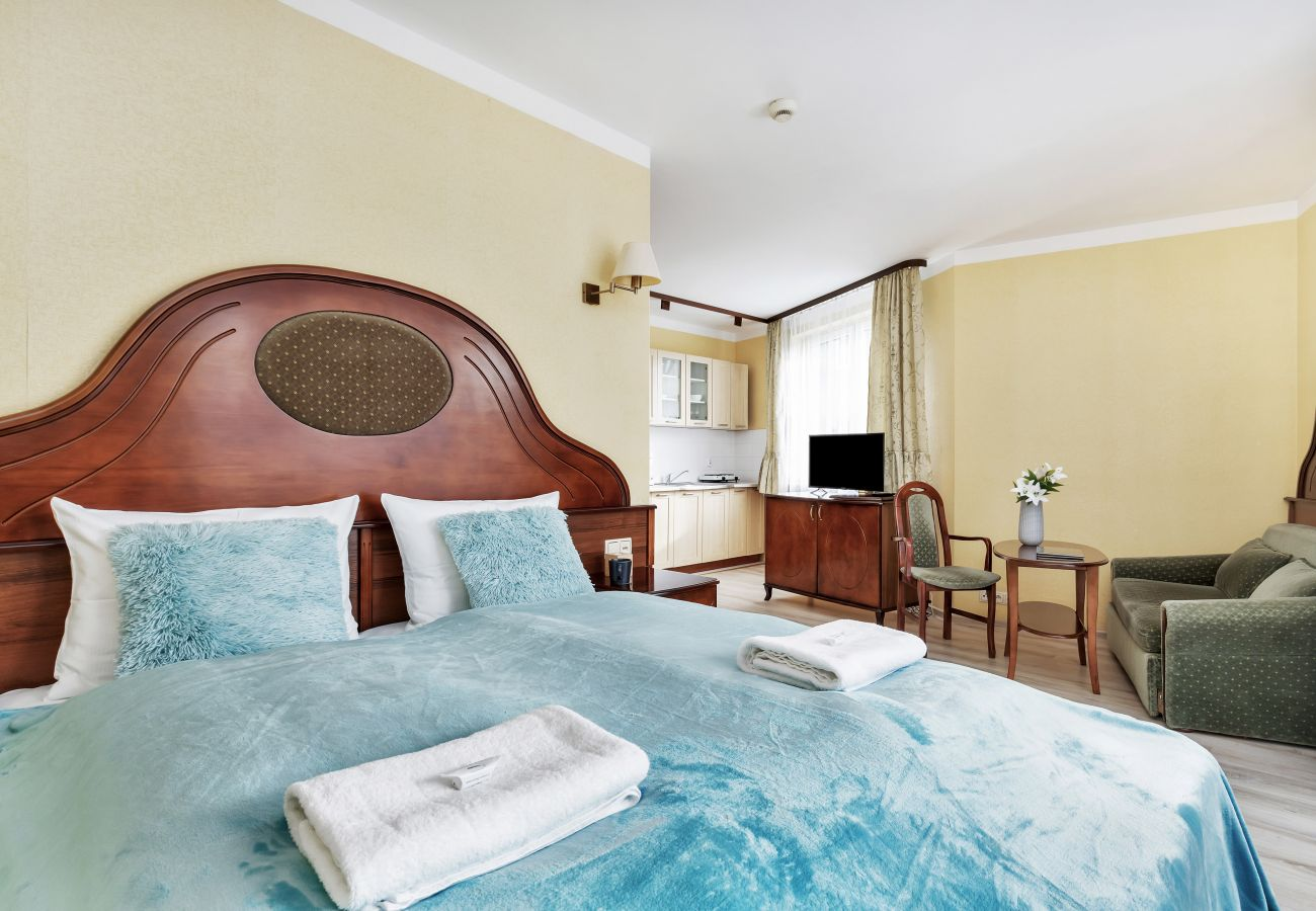 salon, sofa, stół, krzesło, telewizor, łóżko podwójne, pościel, poduszki, studio, wnętrze, wynajem