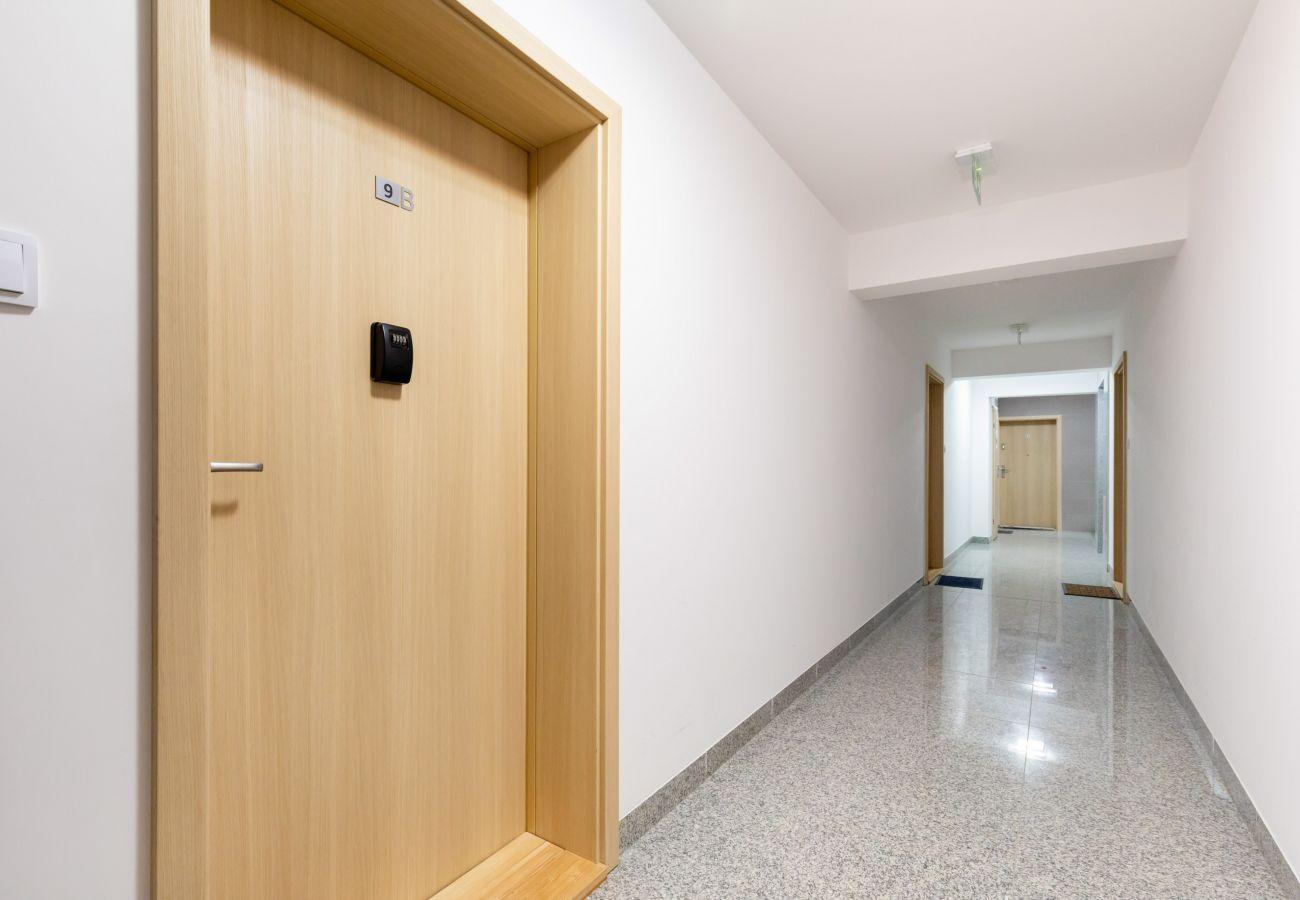 wnętrze, apartament, apartamentowiec, apartamentowiec wnętrze, wynajem, korytarz, winda, Słoneczne Tarasy